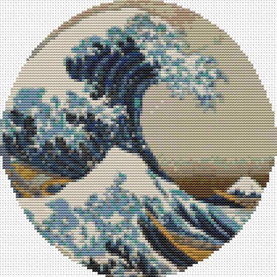 Photo of Great Wave off Kanagawa Cross Stitch Pattern, Katsushika Hokusai, Circle Cross Stitch