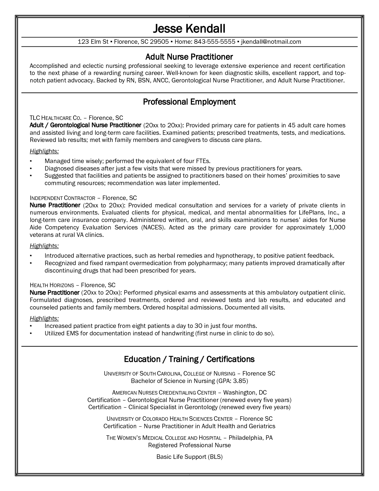 Elegant Family Nurse Practitioner Sample Resume Intended Nurse Practitioner Sample Resume