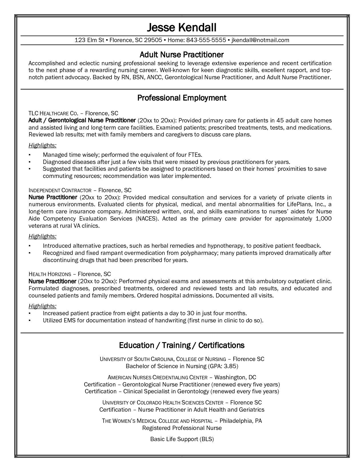 fnp sample resume