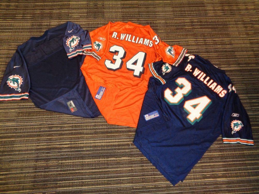 LOT 3-RICKY WILLIAMS  34 MIAMI DOLPHINS REEBOK ORANGE BLUE NFL GAME JERSEYS  XLG (eBay Link) 11fc04130
