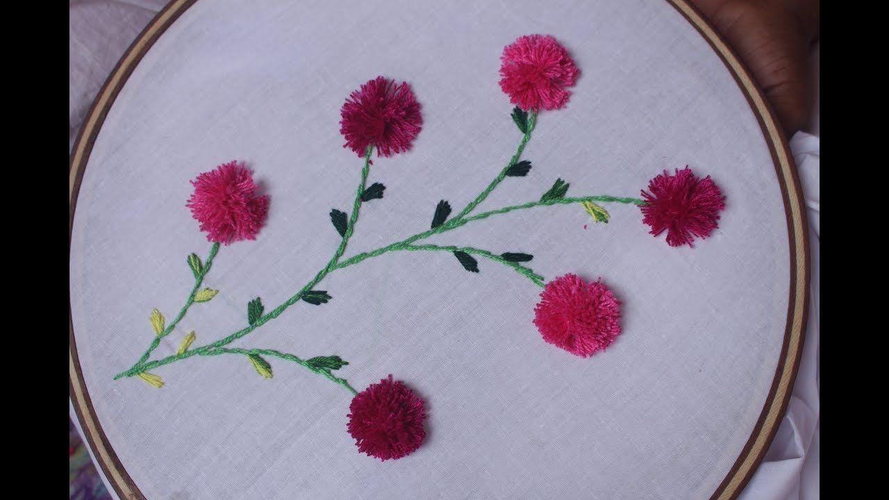 Pom pom flower stitch design hand embroidery designs pom pom