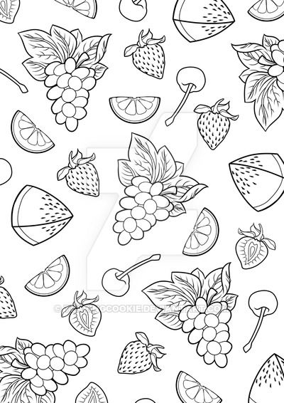 Summer Fruit Burst - Colouring Page  Fruit coloring pages, Cute