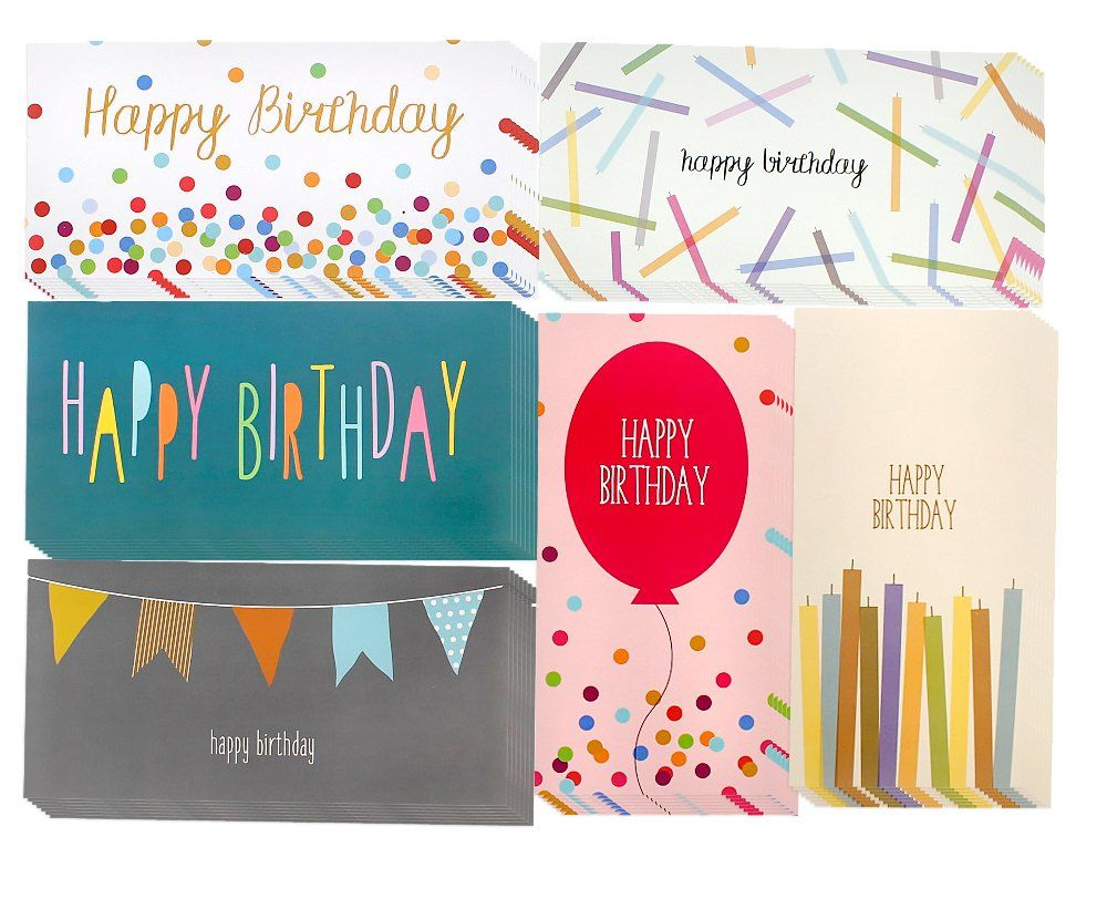 36 money card holders assorted birthday designs balloons