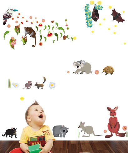 Peel And Stick Australian Animal Wall Stickers Boys Wall Stickers Wall Stickers Australia Kids Wall Decals