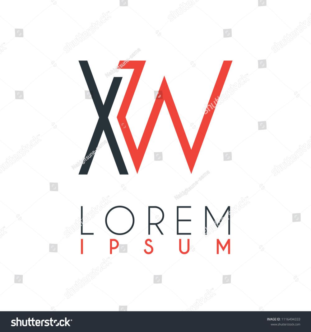 Logo Between Letter X Letter W Stock Vector Royalty Free