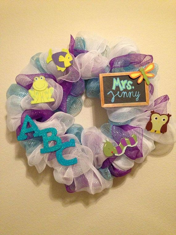 Customized Teacher Wreath Classroom Wreath by TurquoiseOwlDesign