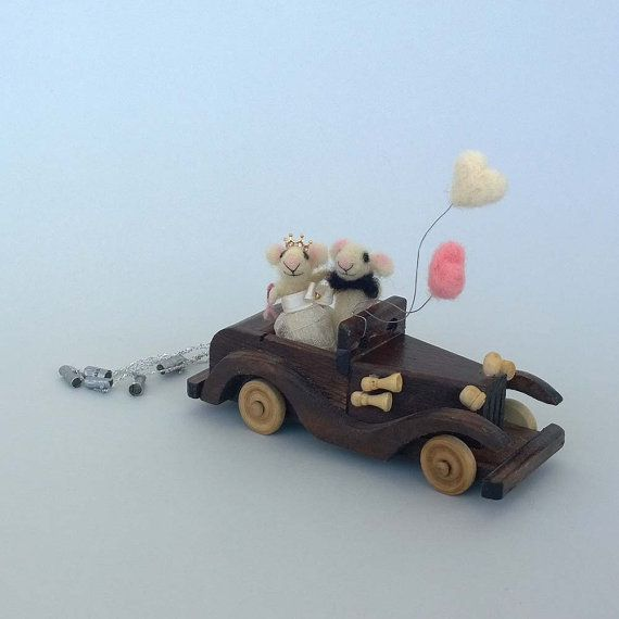 Wedding cake topper mice Retro car Just married by CozyMilArt, $78.87