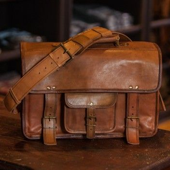Vintage And Authentic Camel Leather Laptop Messenger Bag