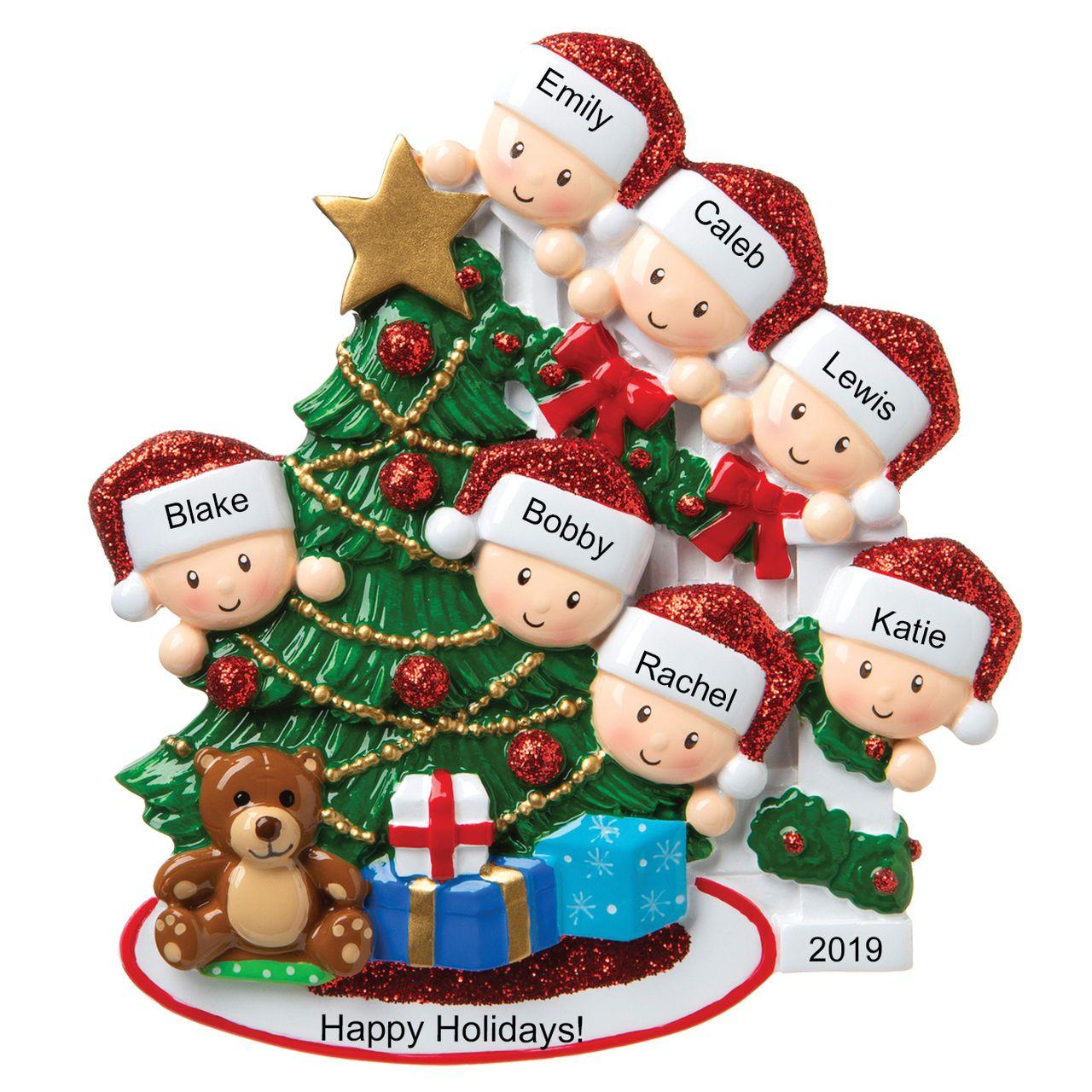 Family Of 7 Around The Christmas Tree Personalized Ornament Or1789 7 Christmas Tree Ornaments Unique Christmas Ornaments Mini Christmas Tree