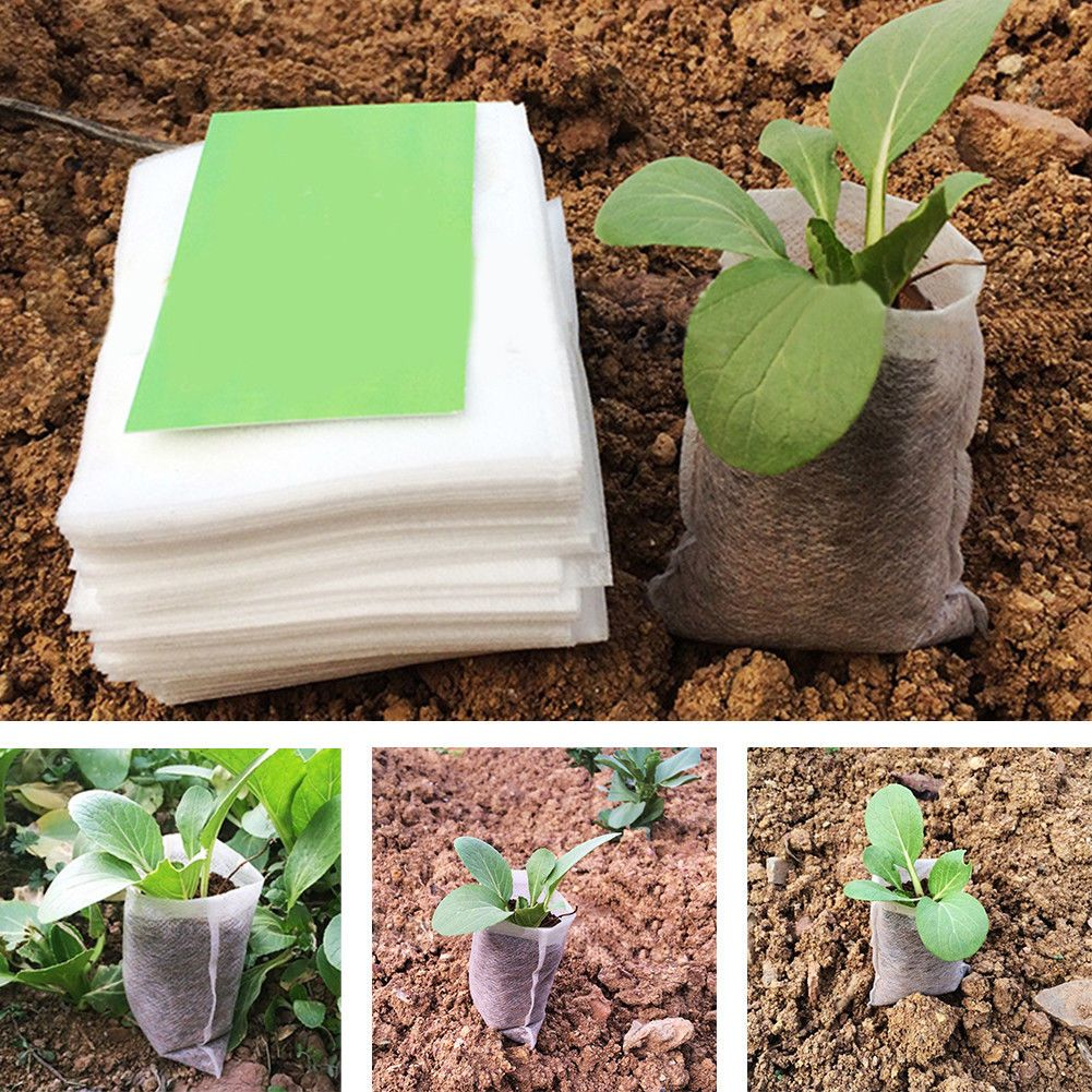2 26 Gbp 100pcs White Plant Grow Bags Fabric Pouch Nursery Seed