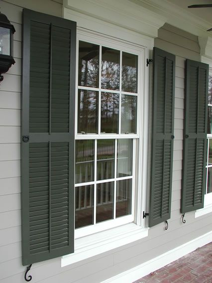 Classic louvered shutter with faux tilt rod pull rings for the home shutters exterior for Exterior louvered window shutters