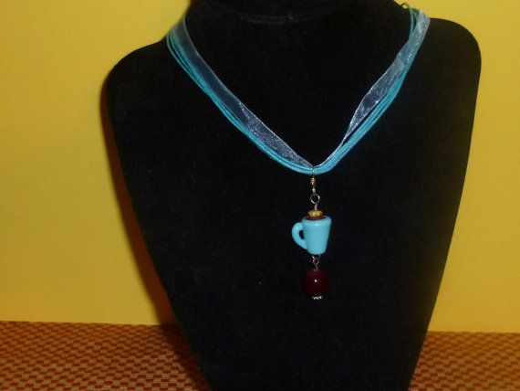 Handmade Coffee Cup Charm Necklace by TrueColorsBoutique on Etsy, $10.00