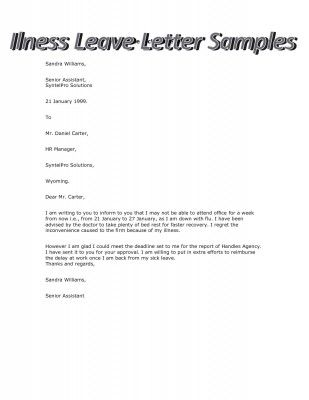 Sample Of Illness Leave Letter Stepbystep  Books  Literature