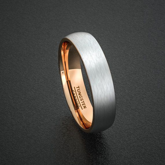 mens wedding band tungsten ring two tone 6mm brushed by sydneykimi