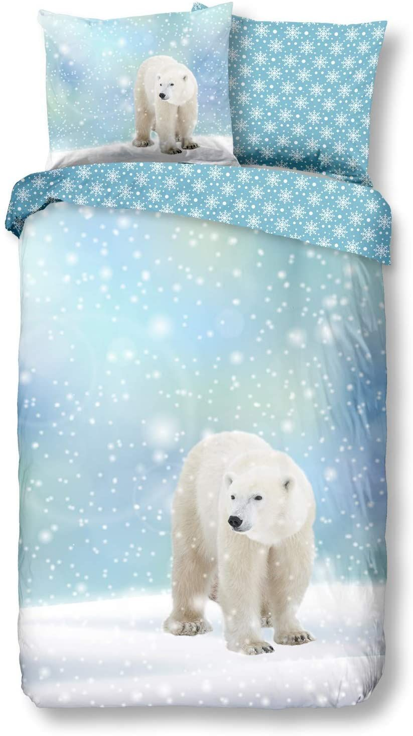 Aminata Kids Premium Biber Bettwäsche Eisbär 135x200 Cm 80x80 Cm Baumwolle Reißverschluss Kinderbettwäsche Mit Wi Biber Bettwäsche Kinderbettwäsche Eisbär