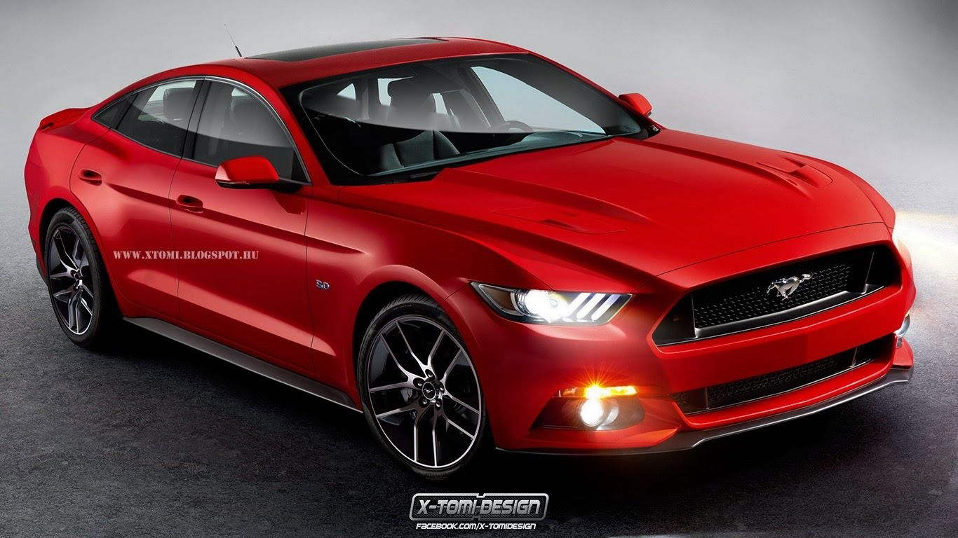 All New 2015 Ford Mustang Rendered As A Four Door Coupe Carscoops 2015 Ford Mustang Mustang Hatchback Ford Mustang