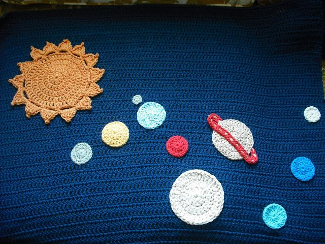 Purple Chair Crochet Solar System Baby Blanket Finished