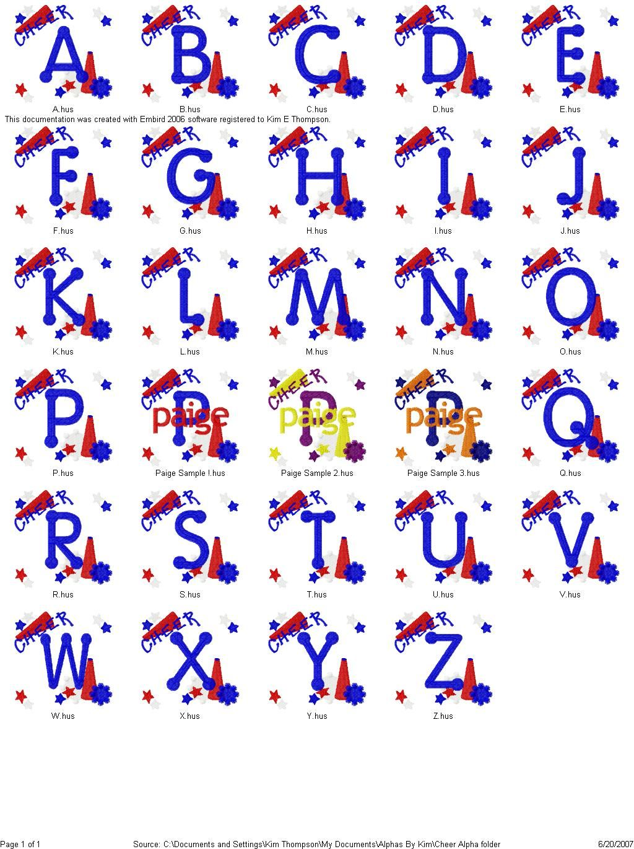 Cheer Leader Pom Pom Megaphone Monogram Font Set