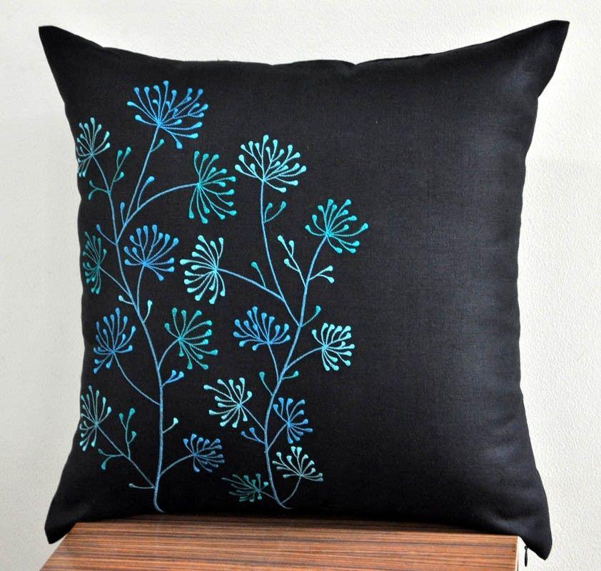Linen Monogram Throw Pillow: Ixora Floral Embroidered Throw Pillow Cover
