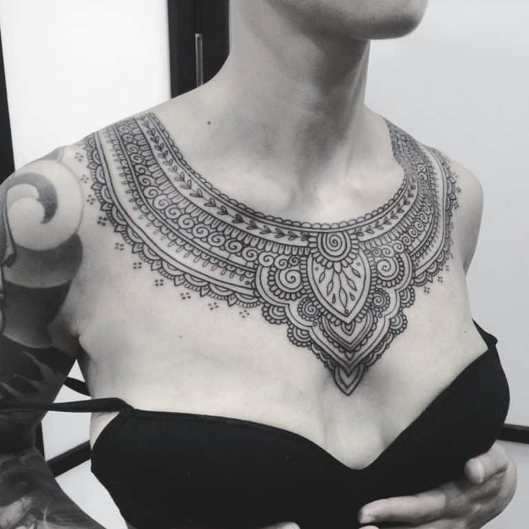 30 chest tattoos for women that draw approving eyes