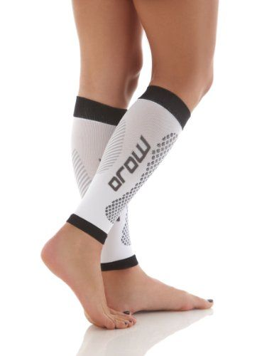 e97217a304 Mojo Calf Compression Sleeve Sleeve - Treat Shin Splints - great for running  basketball walking cycling or as a calf guard White/Black Medium