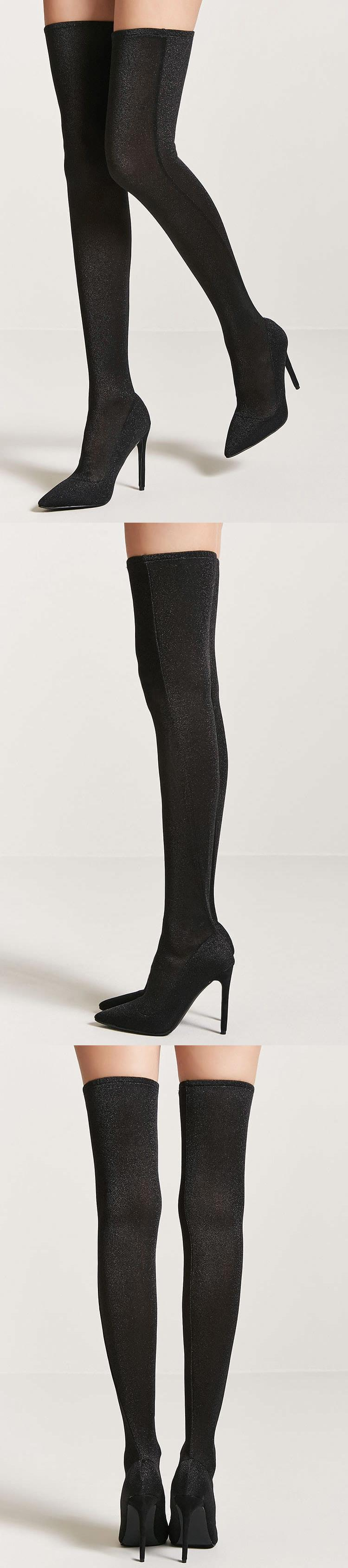 095f7e6c582 Metallic Knit Over-the-Knee Sock Boots    39.90 USD    Forever 21 ...