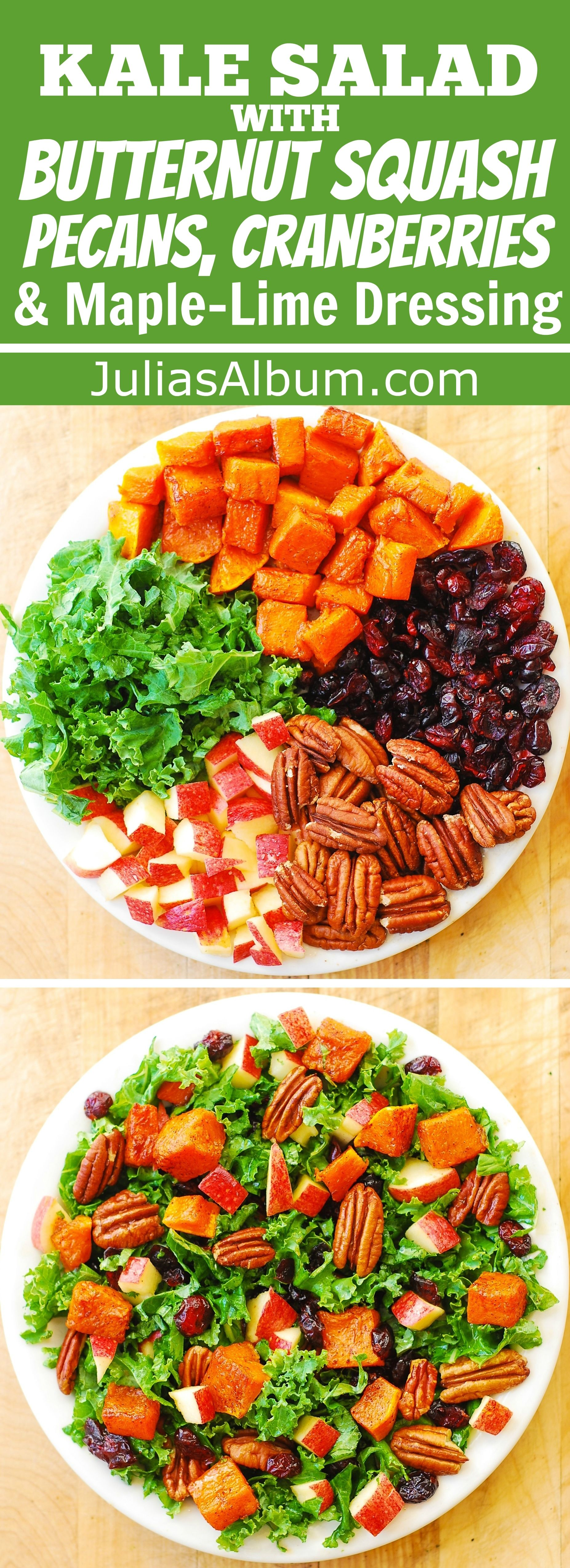 Healthy recipe: Butternut Squash, Kale, Pecan, Cranberry, Apple Salad with Maple-Lime Dressing.