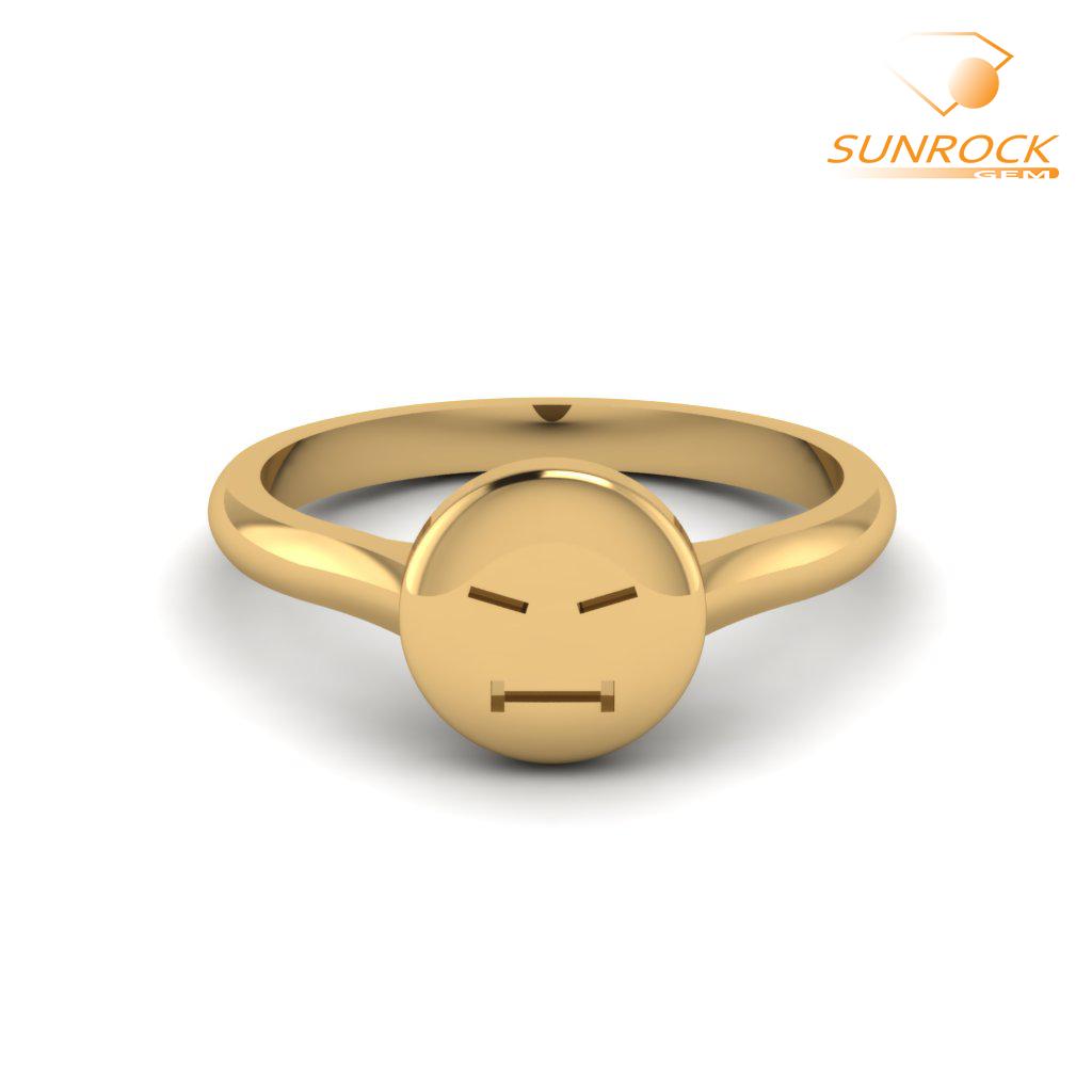 Stern Emoticon Ring Yellow Gold Yellow Gold Rings Emoji Ring Yellow Gold