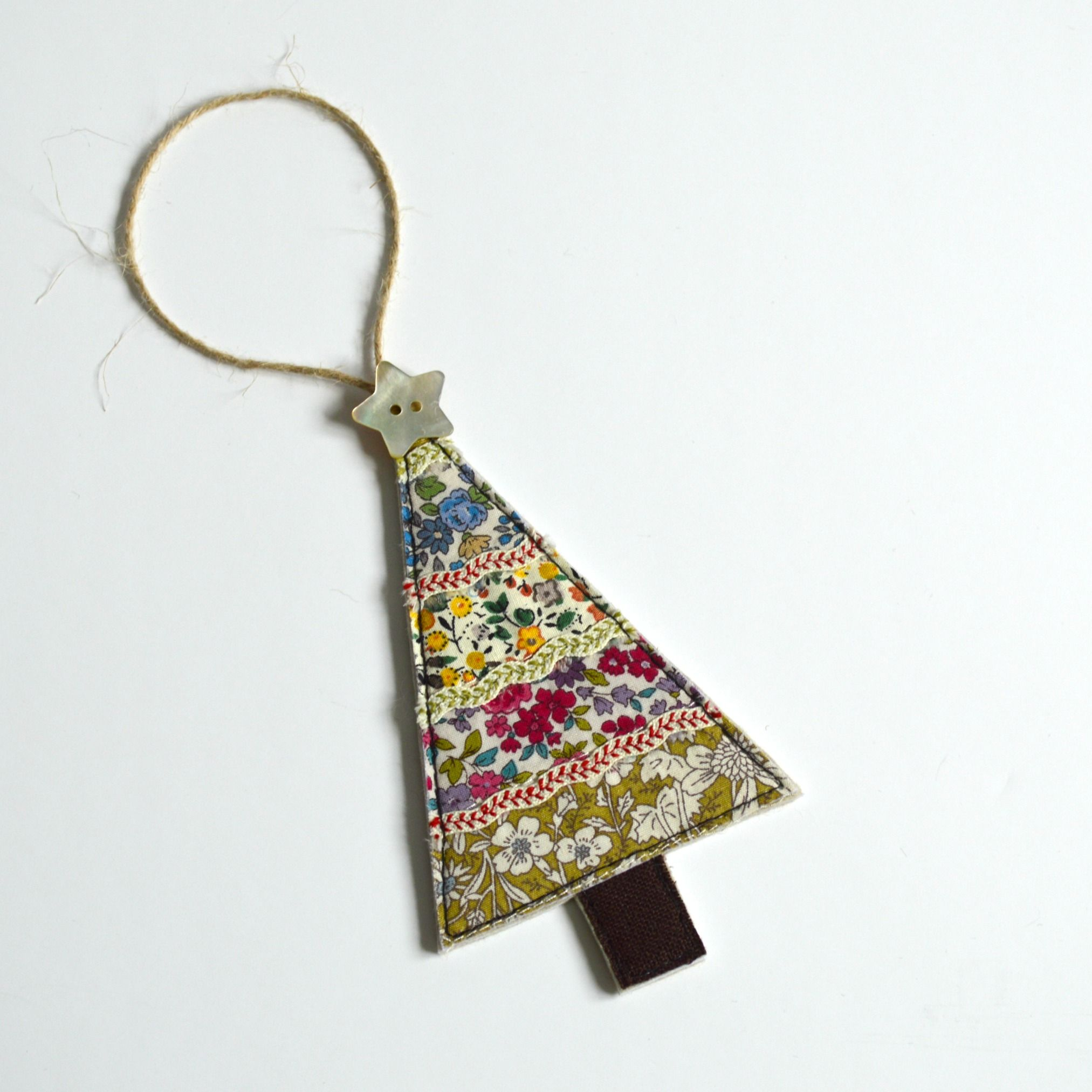 Embroidered fabric Christmas tree hanging decoration handmade by Stitch Galore