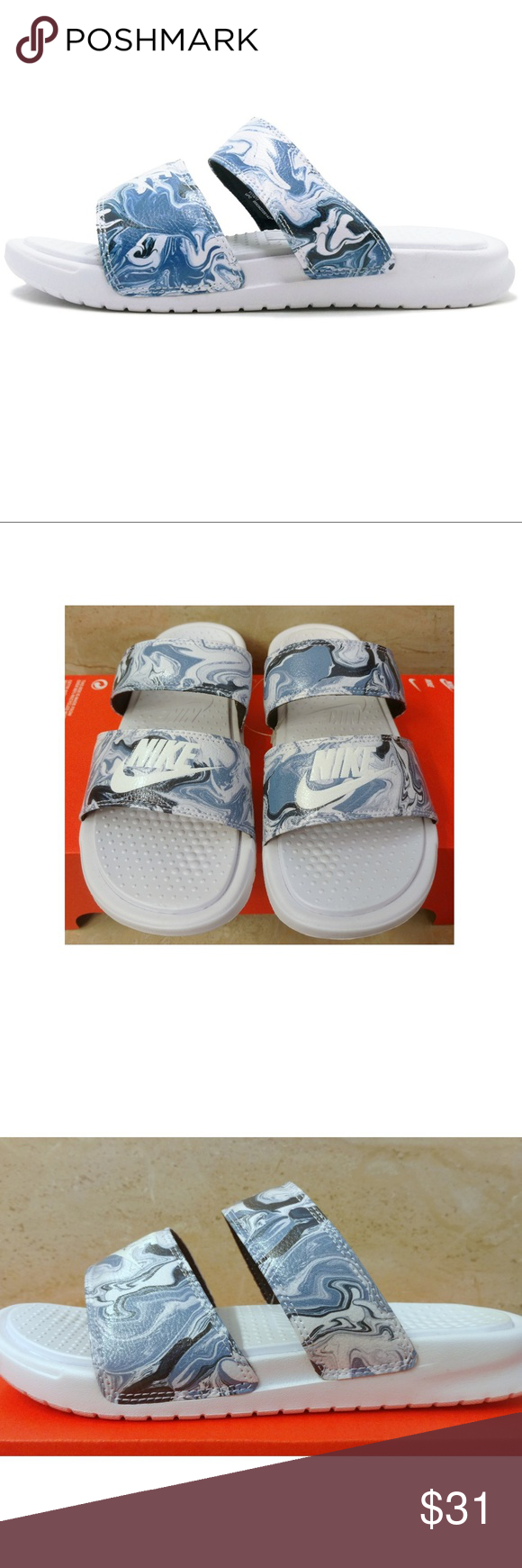 67b8a70ef732 Sz 7 Nike Benassi Duo Ultra Slide Comfort Sandals Condition  Brand new with  lidless box NWB Color  Blue   White Style  819717 002 Size  US Women s 7  Soft ...