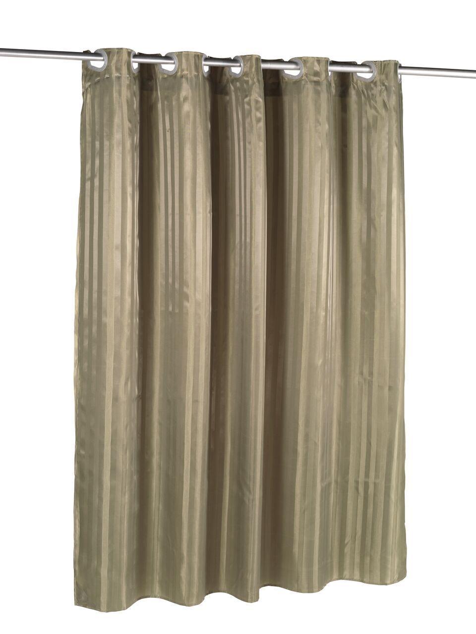 Sage Pre HookedTM Satin Stripe Fabric Shower Curtain