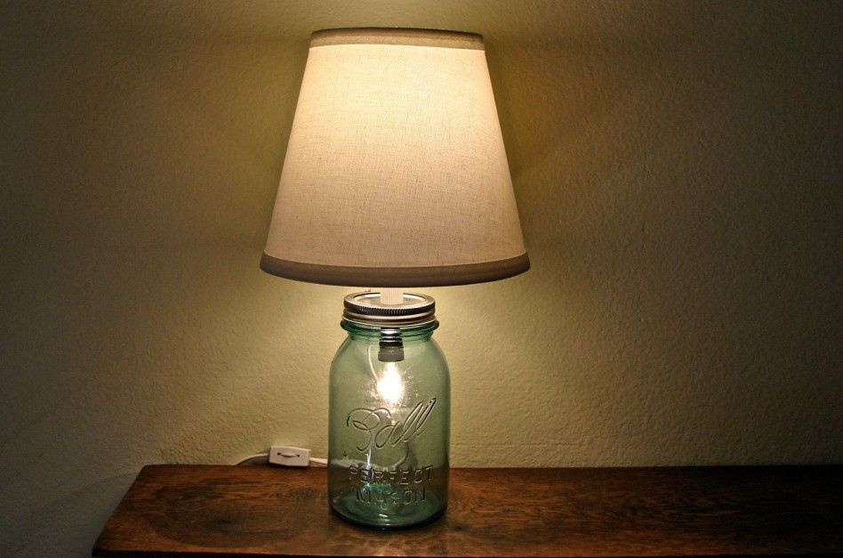 Accessories Lovely Blue Mason Canning Jar Lamp With Beige Fabric Cone Lamp Shade On The Log Style Table Jar Table Lamp Diy Floor Lamp Handmade Lamps