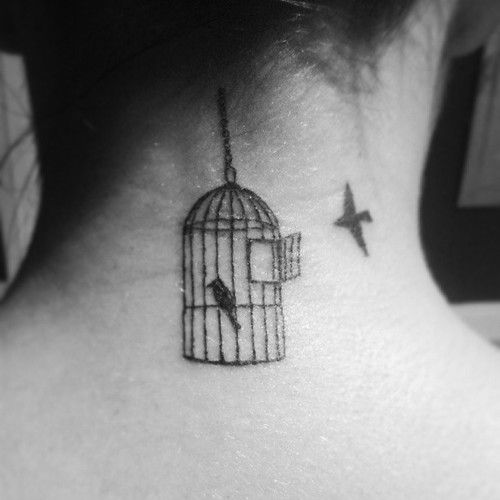 Pin By Sarah Mejeur On Tattoos Cage Tattoos Birdcage Tattoo Neck Tattoo