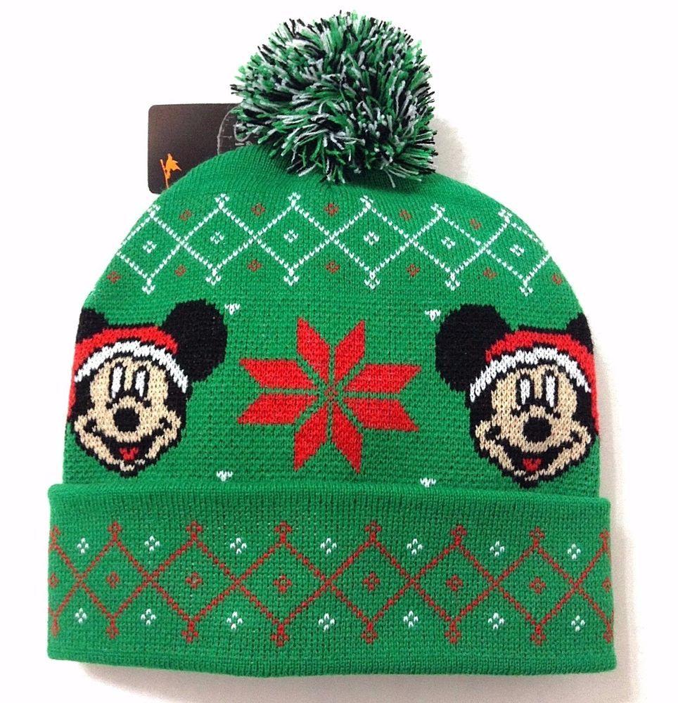 New MICKEY MOUSE UGLY CHRISTMAS SWEATER POM BEANIE Winter Knit Ski ...
