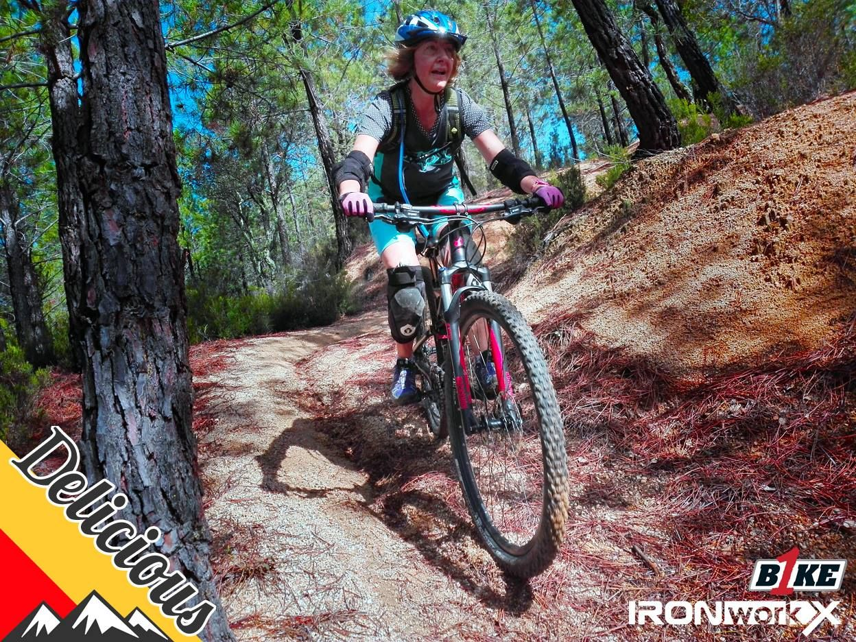 402662b6062 Guest rider Mel from London having a great time with Delicious MTB holidays  here in Girona.