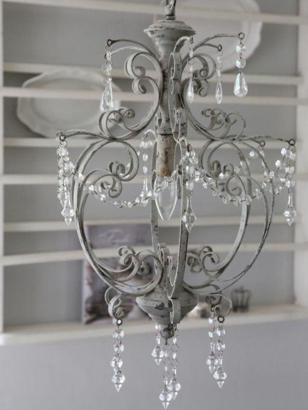 Wonderful Details Zu CHIC ANTIQUE Kronleuchter Lüster Lampe Weiß Antik Vintage  Leuchter Schwedenhaus Idea