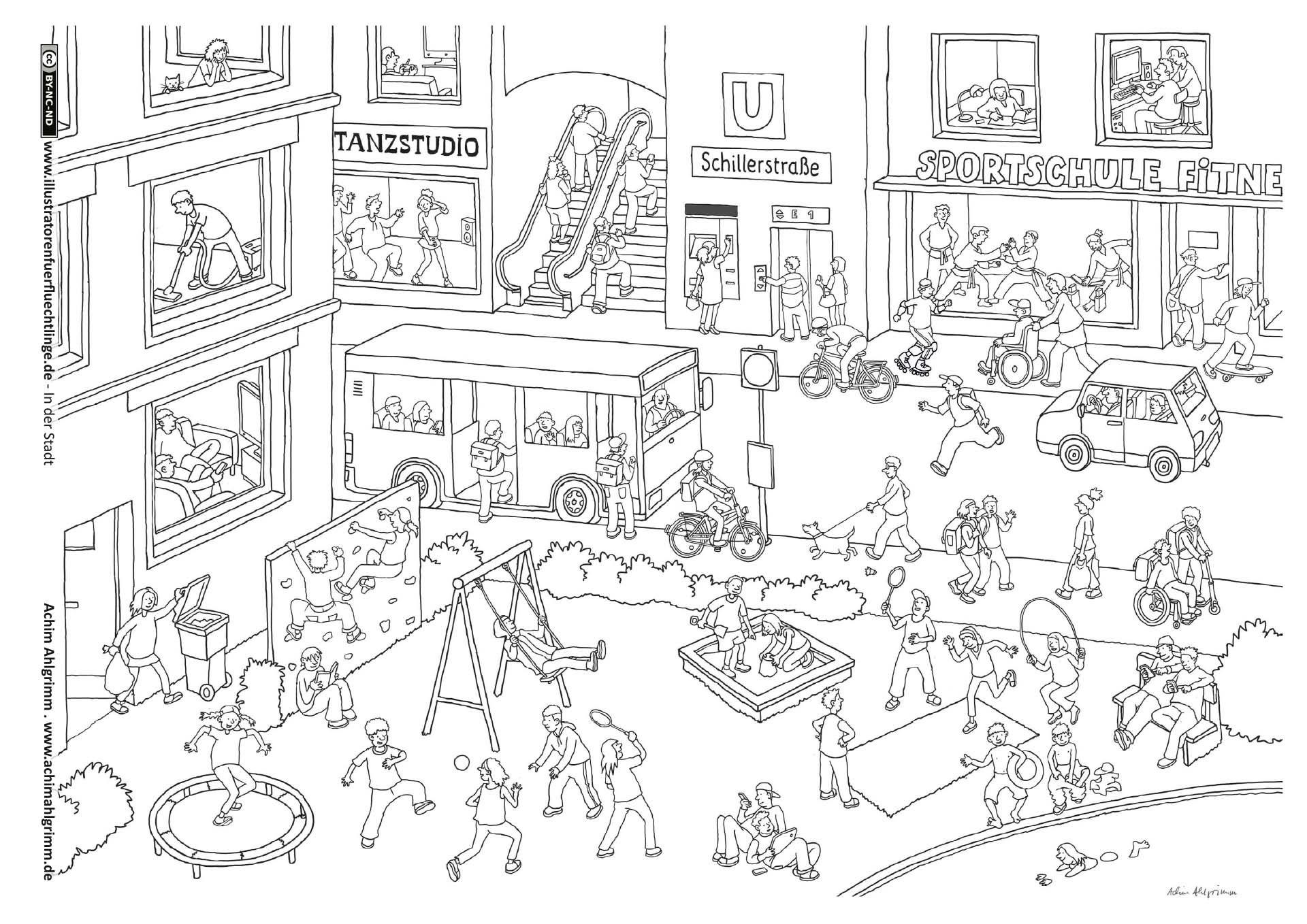 Download als PDF: In der Stadt – Stadt Spielplatz Wimmelbild