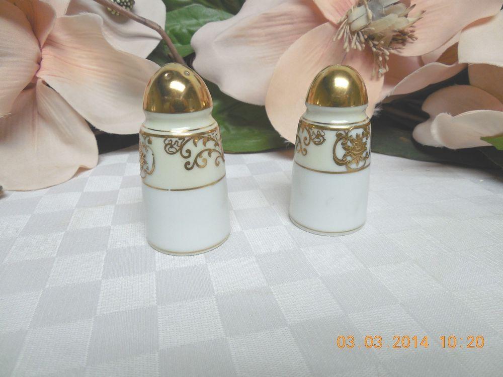 Noritake China dinnerware Gold Flower Basket Pattern #: 44318 Salt and Pepper  #Noritake