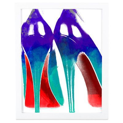 """SafiyaJamila High Heels Watercolor Framed Graphic Art in Blue and Red Size: 20"""" H x 16"""" W x 1"""" D, Frame Color: White"""