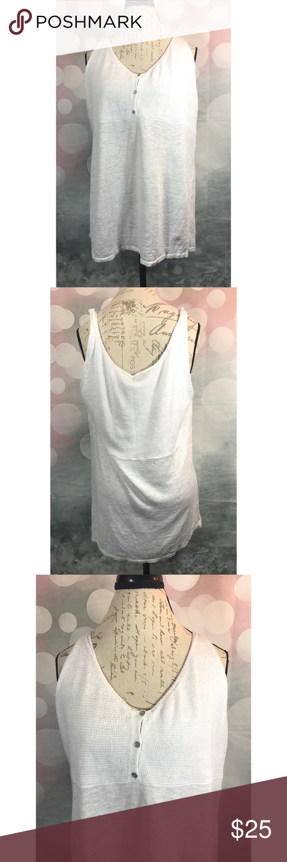 Eileen Fisher White Knit Tank Top XL An Eileen Fisher White Knit tank. A classic piece for any casual outfit! Size XL. In great preloved condition with only small fuzzies from normal wear and wash.   Additional Information: Made in: China Material: 100% linen Eileen Fisher Tops Tank Tops