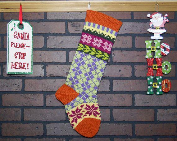 Argyle Christmas Stocking Hand Knit Christmas Stocking, Fair Isle ...