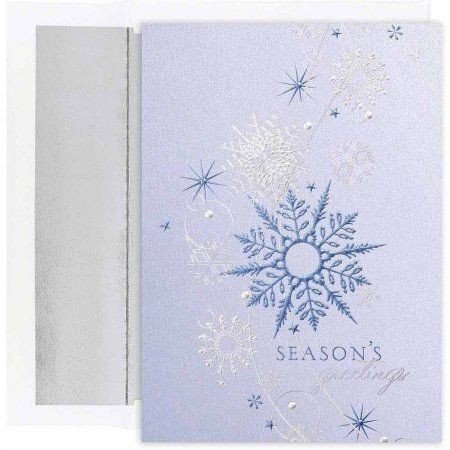 Christmas card set 7 67 inch x 5 58 inch 16pk assorted jam paper christmas card set blue shimmering snowflakes holiday cards 16 cards envelopespack walmart m4hsunfo