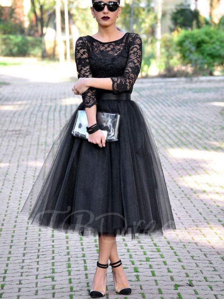 A Line Scoop 3 4 Length Sleeves Lace Tea Length Evening