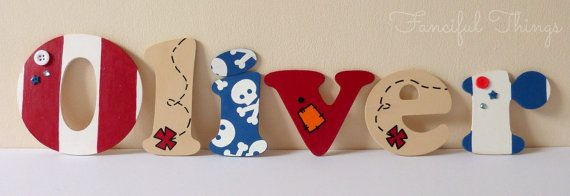 Oliver Hand Painted Pirate Wooden Wall Letters By Www