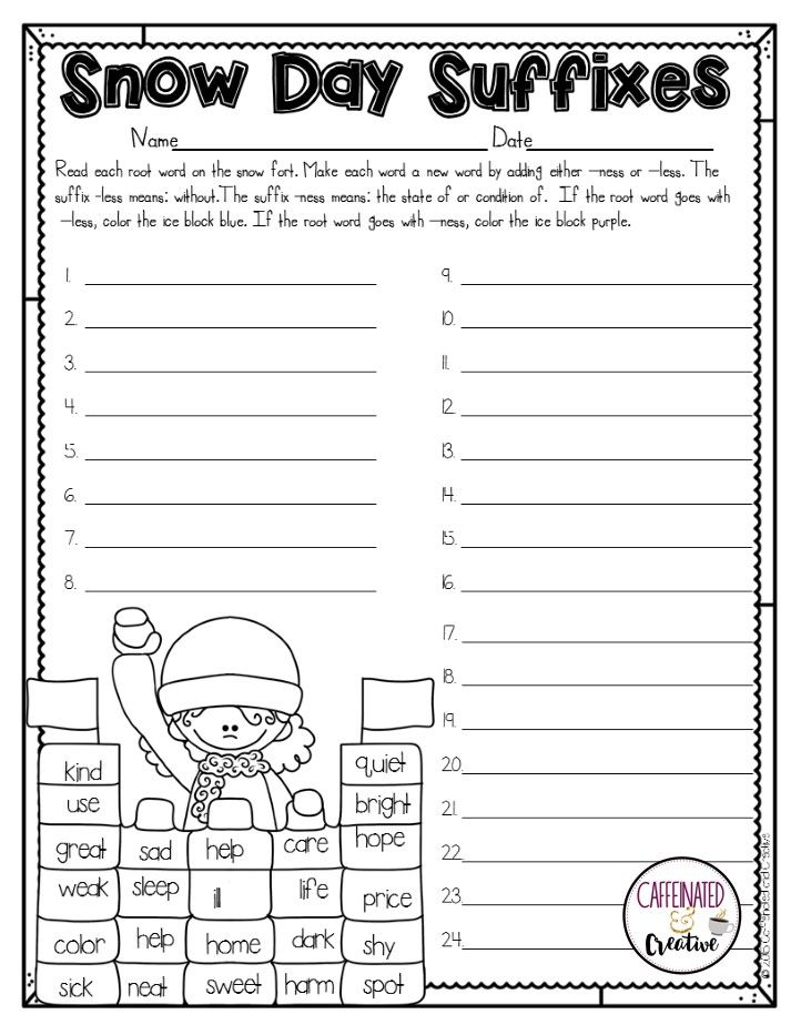How To Survive The Winter Holidays As A Teacher Caffeinated And Creative Second Grade Suffix Less School Help Suffix worksheets second grade