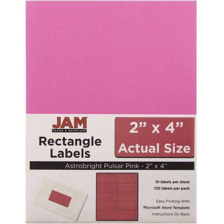 JAM Paper Mailing Address Labels, 2 inch x 4 inch, Pulsar Pink, 10 - 2 X 4 Label Template 10 Per Sheet