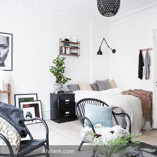 Style-Traum auf 47 Quadratmetern Göteborger Apartment im lässigen - schlafzimmer style