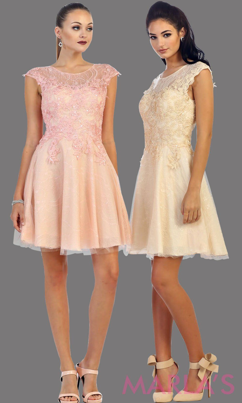2a90200a95f0 High neck short champagne puffy dress with lace bodice. This light beige  short grade 8 graduation dress has a low v back. This is perfect for  homecoming, ...