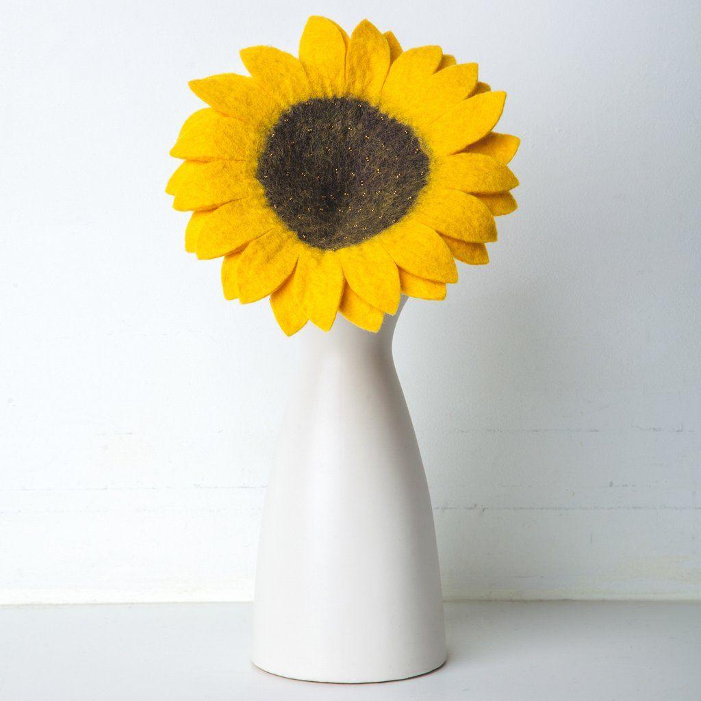 Felt sunflower felt flowers artisan handmade