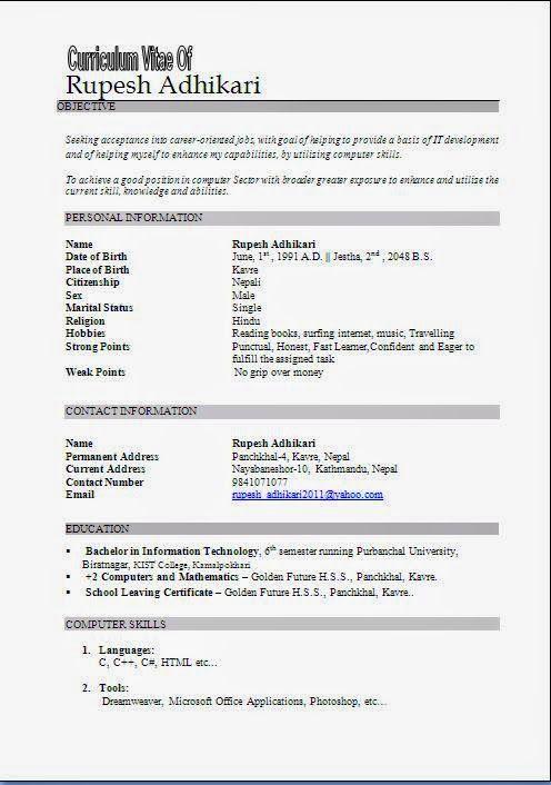 Curriculum Vitae Formato Para Llenar Sample Template Example